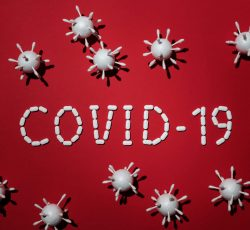 Concept of covid 19 in red background