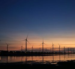 windmill, sustainable, ESG,Clouds dawn dusk electricity