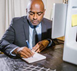 Man people desk laptop